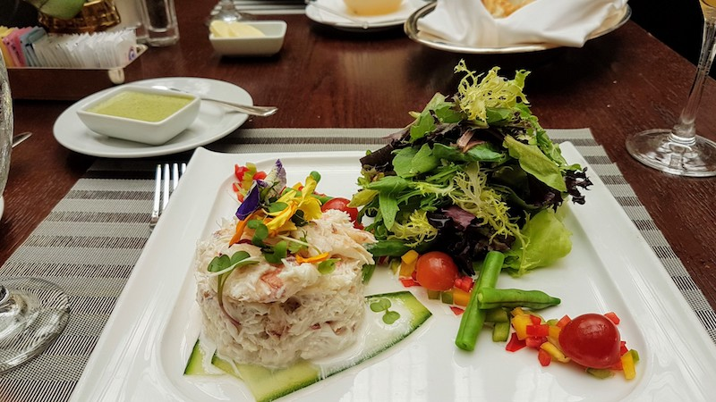 Legendary crab salad at the Garden Court at the Palace
